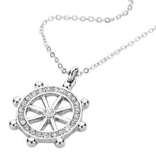 "Captain's Boat Wheel Charm Pendant Necklace - Sparkling Crystal - 16"" Chain"