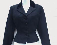 Vintage 1950s jacket black wool velvet trim Best & Co Young Cosmopolitans UK 10