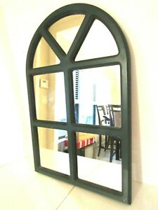 """Rustic Arched Window Mirror Style Wall Home Garden Decor 24x16"""" Green"""
