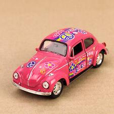 1972 Pink Peace Hippy Volkswagen Beetle Die-Cast Model Car VW Love Bug 12cm