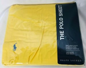 Vtg NIP Ralph Lauren The Polo Sheet Yellow Queen Bed Flat Sheet Embroidered Logo