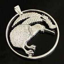 "New Zealand Kiwi ( Bird ) Cut Coin Pendant with Necklace. Hand cut. 1-1/8"" diame"