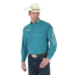 Wrangler® MP2303M Logo Long Sleeve Button Down Collar Printed Shirt Teal