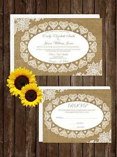 Wedding Invitations Burlap & Lace 50 Invitations & RSVP Cards Any Colors