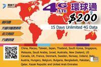 15 Day Asia Data Sim Card for China Japan Thailand Korea Singapore Malaysia