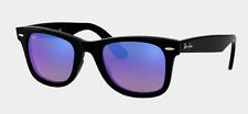 New Ray Ban Wayfarer SUNGLASSES 2140 901 Black Frame Blue Lens Mirror Reflective