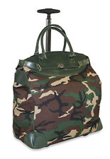 Camo Rolling Wheeled Overnight Bag Trolley Carry On Womens Ladies Laptop