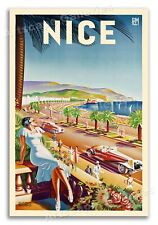 Nice France 1930s Vintage Style French Riviera Beach Travel Poster - 16x24