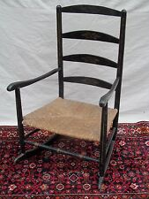 18th CENTURY QUEEN ANNE PERIOD ANTIQUE ROCKING ARM CHAIR IN ORIG BLACK PAINT