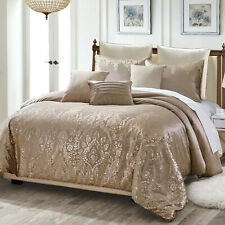 8Pcs Luxury Metallic Printed Velvet Comforter Set Bed In A Bag,Queen ,Pandita