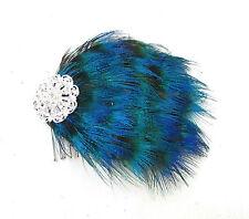 Bleu Argent Plume De Paon Peigne À Cheveux Années 1920 Great Gatsby Charleston