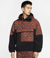 NIKE ACG AOP HALF ZIP FLEECE ANORAKBLACK & RUSH RED Size UK Large (CK3106-010)