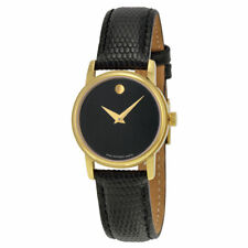 MOVADO 2100006 Museum Classic Women's Wrist Leather Watch 28MM Gold&Black