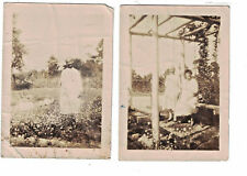 """1930s 2 photographs  of Monk in Garden With Woman Flowers Trellis 2.5 x 3.5"""""""