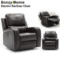 Electric Power Air Leather Recliner Chair Free Angle sofa w/ USB Charging Port