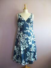Monsoon Size 14 Navy Blue Aqua Floral Cotton Print Sleeveless Calf Length Dress