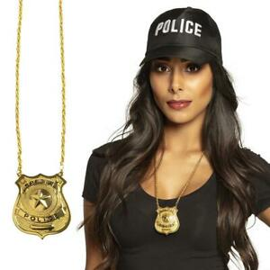 Special Police Necklace Gold Badge FBI Cop Officer Fancy Dress Costume Accessory