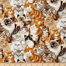 Cats Petpourri Elizabeth's Studio Fabric Crm Brown Ginger  1/2 Yard