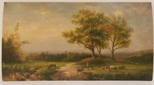 """Old Original Oil Painting on Wood Landscape with Cows Unframed Art  (8.5"""" x 16"""")"""