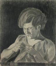 Disegno a Carboncino1930 Raffigurante Donna impegnata a Cucire 56,5x48