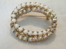 Circles Filled White Ab Rhinestones Stunning Brooch Pin Gold Tone Intertwined