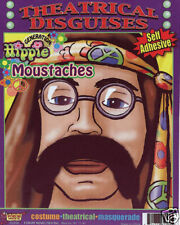 Fake Black Hippie Moustache 70's Theatrical Costume Hair Self Adhesive