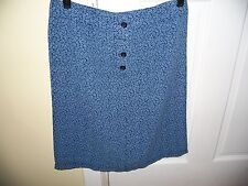 Monsoon Size 6 Blue Floral Print Skirt above Knee Cotton Belt Hoops