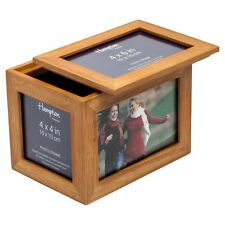 """DAR46WO Wood Photo Picture Storage Box With Lid Storing Up To 400 4x6"""" Images"""