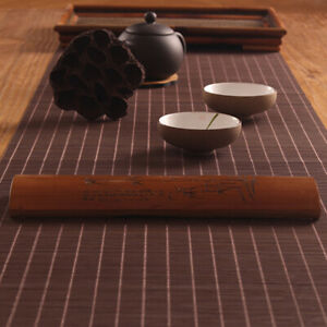 Tea Flag Table Runner Bamboo Woven Tablecloth Insulation Kitchen Placemat Coffee