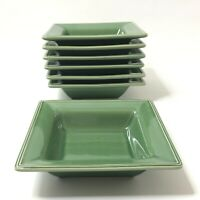 Williams Sonoma Marketplace Square Green Rimmed Soup Cereal Bowls Set of 7