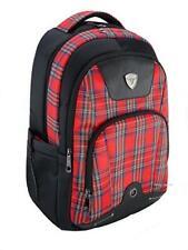 3 Zip Pockets Red Tartan Weather Proof Rucksack Design New