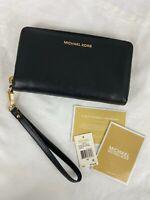 Michael Kors Jet Set Travel Flat Multifunction Leather Wallet Wristlet Black NWT