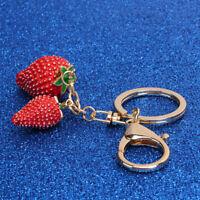 Coach Pave Rhinestone Dipped Strawberry Key Ring Fob Keychain Bag Charm S