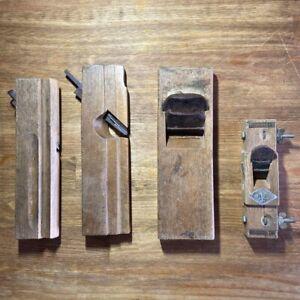 LOT 4 Japanese WOOD PLANES Vintage KANNA SET Carpenter's tools USED JAPAN F6353