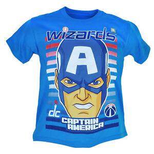NBA Marvel Washington Wizards Captain America Youth Tshirt Tee Short Sleeve Blue
