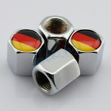 Silver Styling Air Dust Wheel Tyre Valve Caps Hat Cover DE Logo Germany Flag