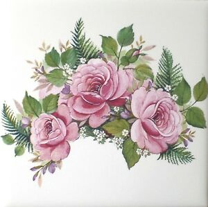 "Mauve Rose with Ferns Ceramic Tile 4.25"" x 4.25"" Kiln Fired Decor"