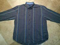 Tommy Bahama Button Front Long Sleeve Shirt Cotton Silk Blend Plaid L Men