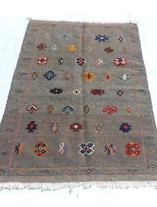 moroccan rug berber Kilim Akhnif Gray Medium Area Rug 4.9x3.1ft
