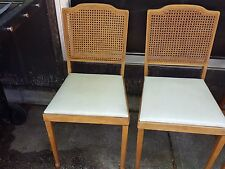 2 VTG Mid Century Leg O Matic Wood Folding Chairs Cane Back Portable