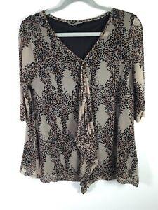 Suzanne Grae womens beige leopard print t shirt blouse size L short sleeve