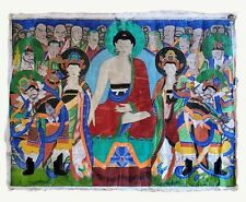LARGE, ANTIQUE 19th C KOREAN BUDDHIST JOESON DYNASTY TEMPLE PAINTING 5'ft x 4'ft