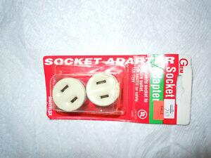 Set of Two VINTAGE GEM SOCKET ADAPTER. New Old Stock. 15A - 125V