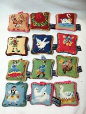 Set of 12~~12 Days of Christmas Needlepoint Pillow Ornaments by Two's Company