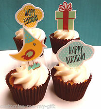 8 Happy Birthday Bird Edible Pop Top Cupcake Toppers | Cake | decorations