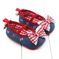 Baby Girls Newborn Bowknot Plaids Slip On Soft Sole Crib Shoes Prewalker 0-12M