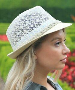 Ladies Sun Hat Trilby Panama Fedora Straw Womens white Brown Beige Size NEW UV