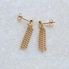 Small Gold Chain Tassle Earrings Studs Ear Posts Simple Plain Minimalist UK