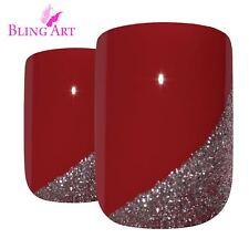False Nails  Red Glitter French Squoval 24 Medium Bling Art Acrylic Tips 2g Glue