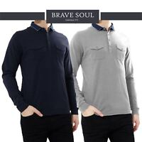 Mens Brave Soul Long Sleeve Washed Denim Collar Casual Polo Shirt T-Shirt Top